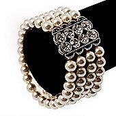 4 Strand White Crystal Pearl Style Flex Bridal Bracelet