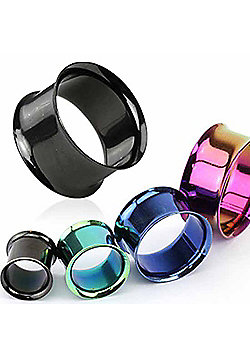 Urban Male Pack of Four Titanium Anodised Ear Stretching Flesh Tunnels Double Flared 12mm
