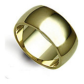 Jewelco London Bespoke Hand-Made 9 carat Yellow Gold 12mm Heavy Weight D-Shape Wedding / Commitment Ring,