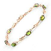 QP Jewellers 5.5in Diamond & Peridot Classic Tennis Bracelet in 14K Rose Gold