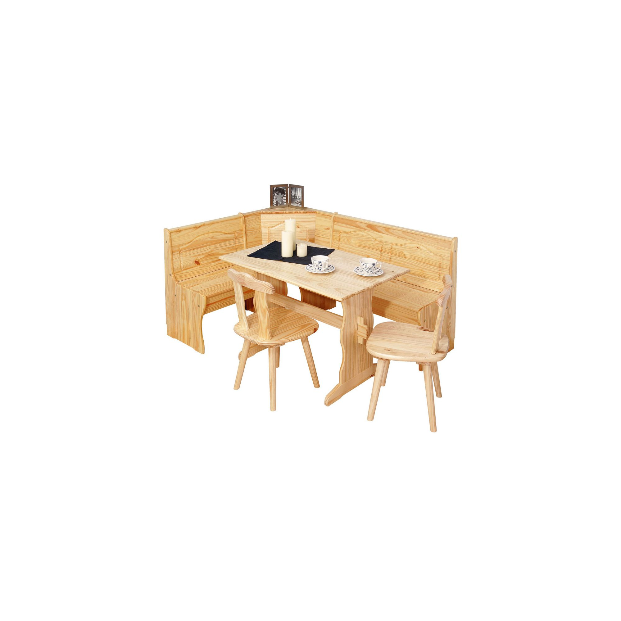 Interlink Tirol Corner Kitchen Bench with Table and Two Chairs in Natural at Tesco Direct