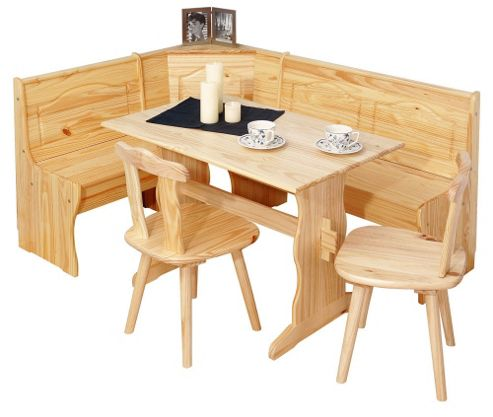Interlink Tirol Corner Kitchen Bench with Table and Two Chairs in Natural