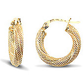 Jewelco London 9ct Yellow Gold 3mm Frosted twist hoop Earrings