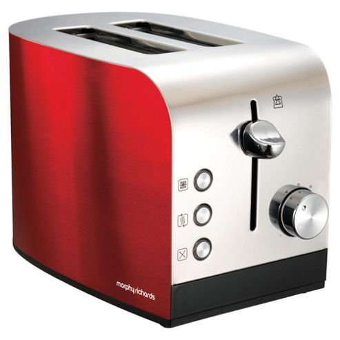 Morphy Richards 44209 Accents 2 Slice Toaster - Red & Stainless Steel