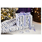 Silver Town Scene Luxury Christmas Wrapping Paper, 3m