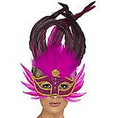 Bright Pink Feathered Eyemask