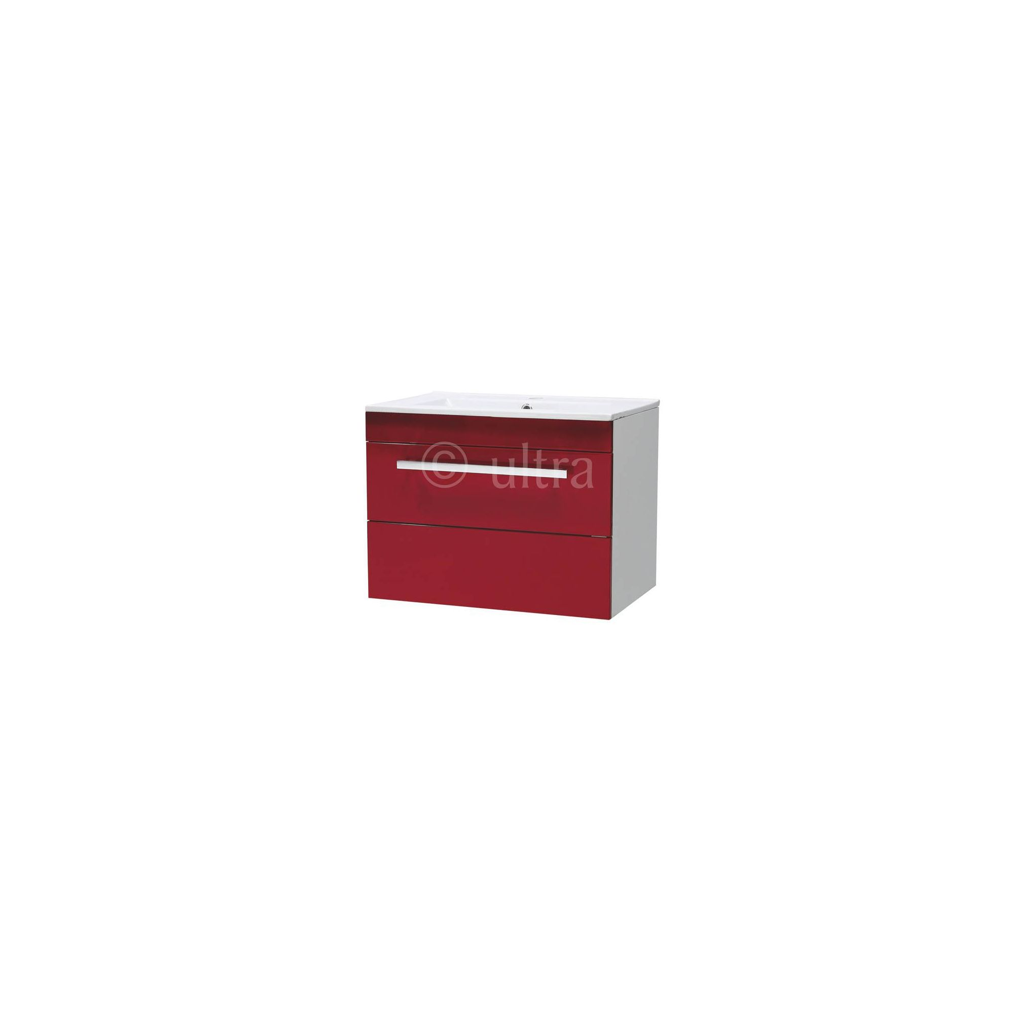 Ultra Design Red Wall Mounted Unit with Ceramic Basin 450mm Height x 600mm Width x 400mm Deep