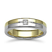 9ct Yellow & White Gold 5mm Flat Court Diamond set 10pts Solitaire Wedding / Commitment Ring