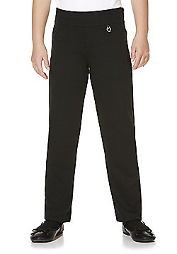 F&F School Girls Jersey Bow Trousers - Black