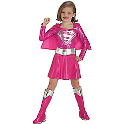 Child Pink Supergirl Super Hero Costume Medium