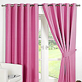 Dreamscene Ring Top Lined Pair Eyelet Thermal Blackout Curtains - Pink - Pink