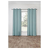Silk Effect Lined Eyelet Curtains, Duck Egg (66 x 54'') - Duck egg