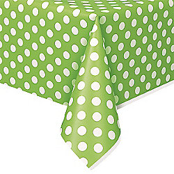 Green Polka Dot Plastic Tablecover - 1.4m x 2.8m