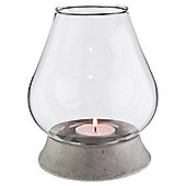Tesco Stone And Glass Hurricane Candle Holder, Small