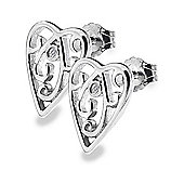 IT Diamonds Rhodium CHERISH STD Diamond Scrolled Heart Stud Earrings