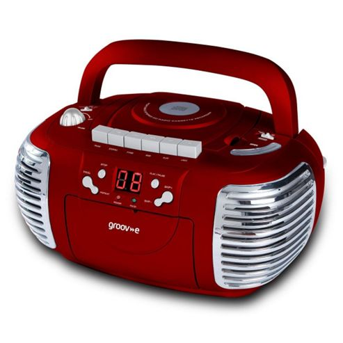 Groov-e Retro Boombox Portable CD & Cassette Player with Radio Red