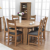 Furniture Link Danube Round Table in Weathered Solid Oak - 156cm with Chairs