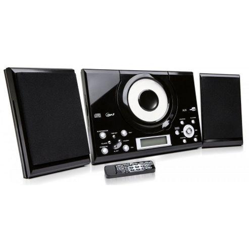 buy grouptronics gtmc 101 black wall mountable cd player stereo with fm radio clock alarm. Black Bedroom Furniture Sets. Home Design Ideas