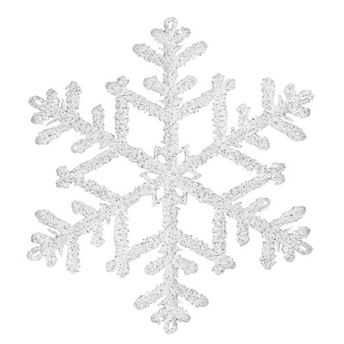 19cm White & Silver Glitter Snowflake Hanging Decoration