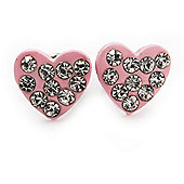 Tiny Light Pink Crystal Enamel 'Heart' Stud Earrings In Silver Plated Metal - 10mm Diameter