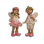 Set Of Two Standing Flower Fairy Resin Garden Ornaments