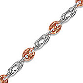 Jewelco London Rose Coated Sterling Silver Celtic & Cocoa Bean Style Charm Bracelet