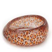 `Leopard Print` Glittering Resin Bangle Bracelet - up to 20cm wrist