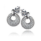 The REAL Effect Rhodium Coated Sterling Silver Cubic Zirconia Drop Earrings