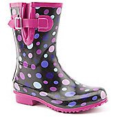 Brantano Ladies Short Spotty 2 Black and Pink Wellington Boots - Black
