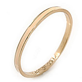 Thin Magnolia Enamel 'Heart Of Gold' Slip-On Bangle Bracelet In Gold Plating - 18cm Length