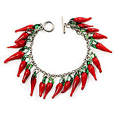 Children Hot Red Chilly Glass Charm Bracelet (15cm)