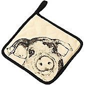 Parlane Square Cream & Black Cotton Piggy Pot Holder - 21cm