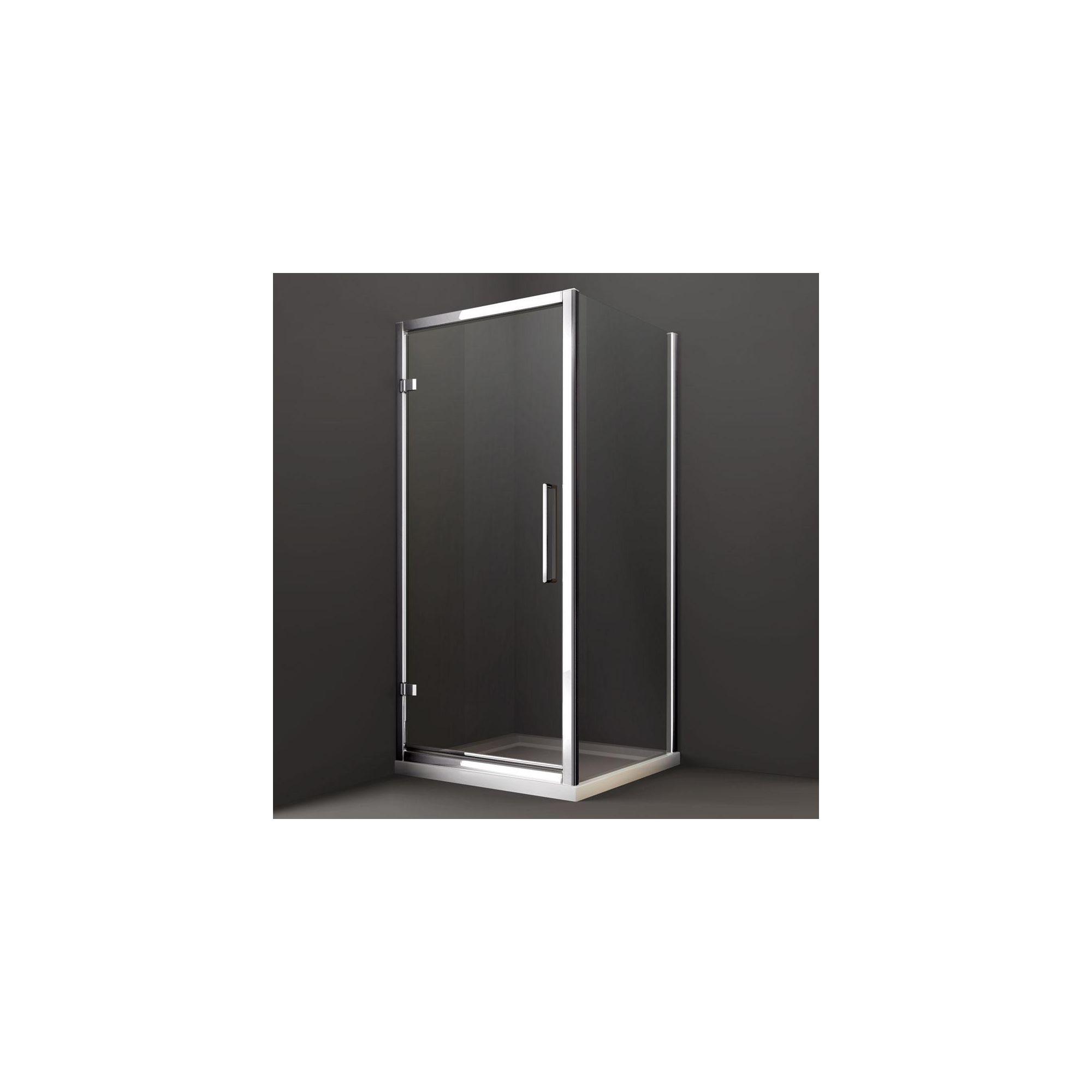Merlyn Series 8 Hinged Shower Door, 1000mm Wide, Chrome Frame, 8mm Glass at Tesco Direct