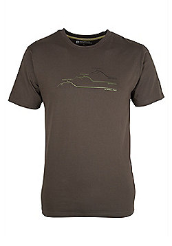 Mens Cotton Lightweight Round Neck Print Short Sleeved Printed 3 Peaks Tee - Green