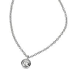 CZ Round Stone Silver Pendant