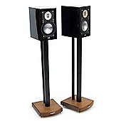MOSECO 7 Black and Dark Oak Speaker Stands