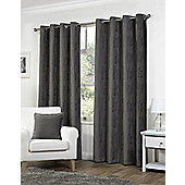 Pippa Ready Made Curtains Pair, 66 x 90 Charcoal Colour, Modern Designer Look Eyelet curtains