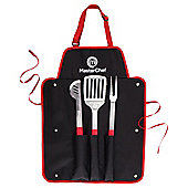 Masterchef 3-piece Stainless Steel BBQ Utensil Set in Apron