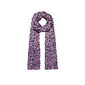 Tonal Purple Flower Print Long Scarf