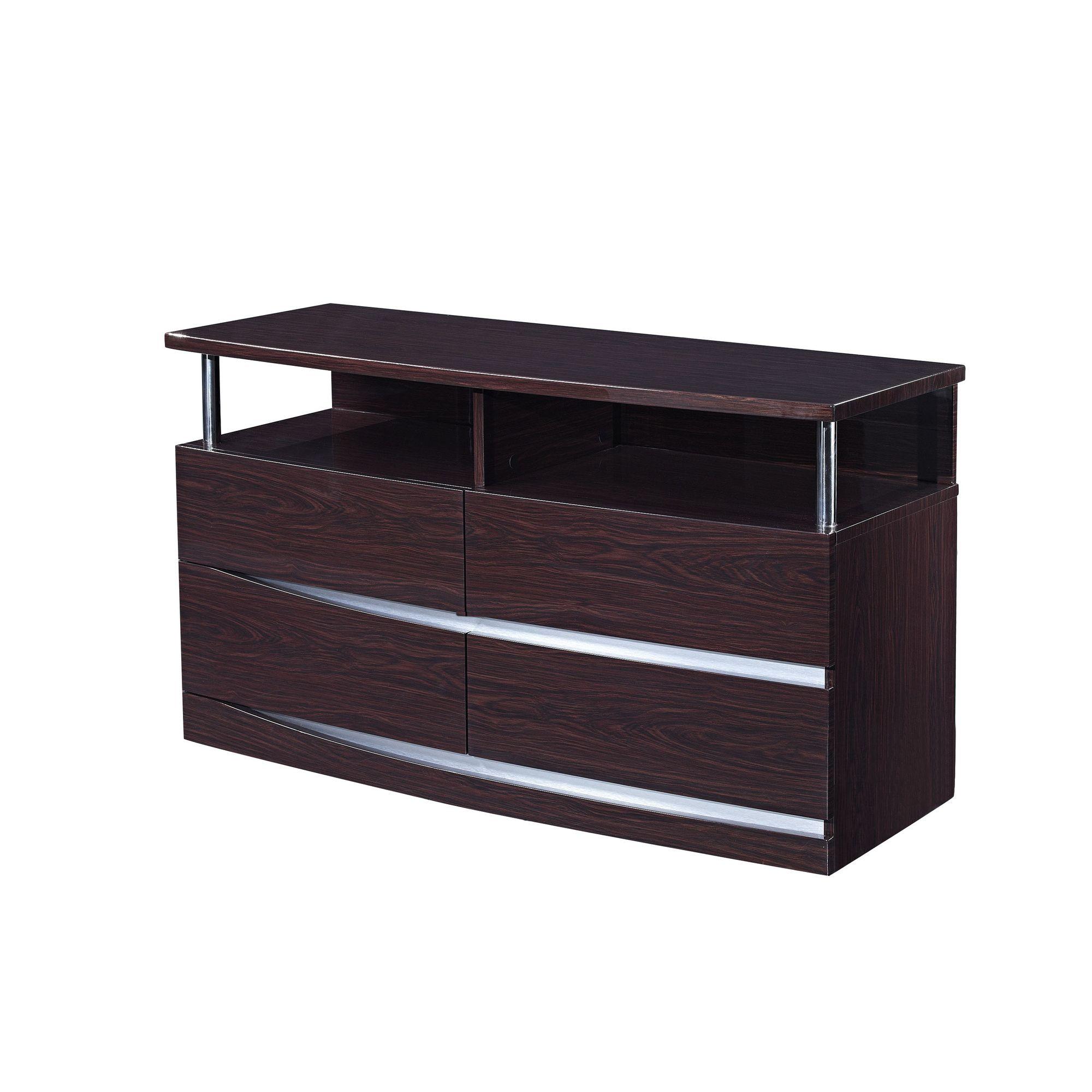Furniture Link Plaza 4 Drawer Cabinet - Walnut at Tesco Direct