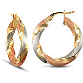 Jewelco London 9ct 3 Tri-Colour Gold Hoop Earring