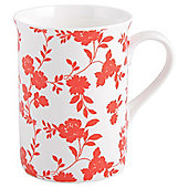 Tesco Fine Bone China Traditional Mug, Floral Red