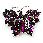 Deep Purple Diamante Butterfly Brooch (Silver Tone)