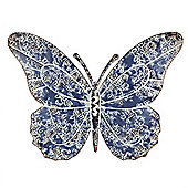 Large Wall Mountable Aged Blue Metal Butterfly Garden Feature Wall Art