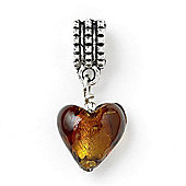 Amber Hanging Heart Slide On Bead
