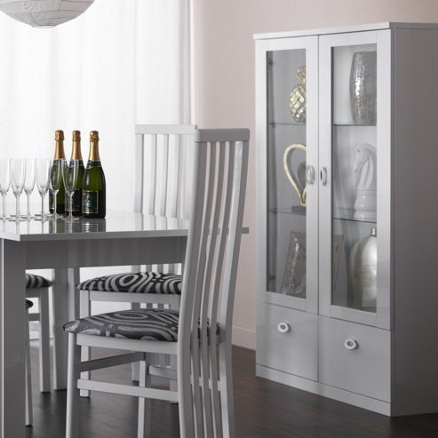Caxton Manhattan 3 Glazed Door / 2 door Display Cabinet in White Gloss