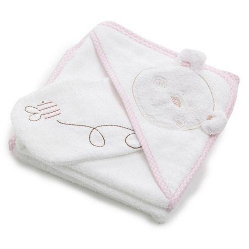 OBaby B is For Bear Bath Robe & Mitten - Pink