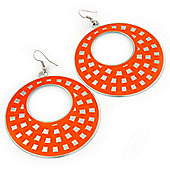 Large Lightweight Neon Orange Enamel Hoop Earrings In Rhodium Plating - 8cm Drop