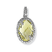 Jewelco London 9ct White Gold - Diamond & Quartz - Charm Pendant -