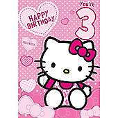 Hello Kitty Birthday Card - 3 Years